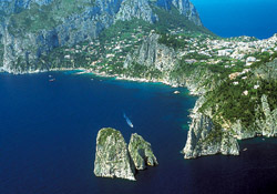 <b>Bird's eye view of the Faraglioni Rocks of Capri</b>