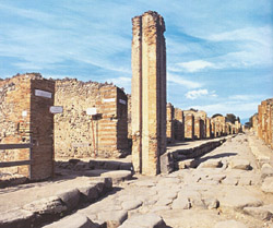 A typical example of a Roman street in Pompeii excavations