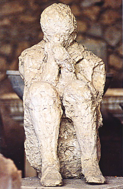 Plaster cast of a human being in Pompeii