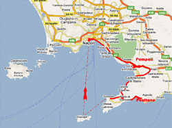 The itinerary of this tour: Naples (or Sorrento)-Pompeii-Positano-Sorrento-Capri-Naples (or Sorrento)