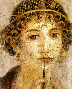 <b>Fresco of woman with wax tablets and <br>stylus (so-called Sappho)</b>