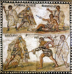 <b>Mosaic with gladiators kept in the National Archaeological Museum of Madrid (Spain)</b>