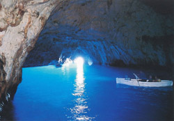 <b>The interior of the Blue Grotto at Capri</b>