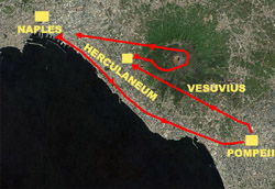 The itinerary of this tour Pompeii-Herculaneum-Vesuvius