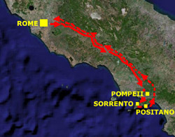 Itinerary from Rome to Pompeii, Sorrento, Positano and back to Rome