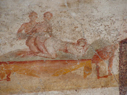 One of the erotic paintings in Pompeii