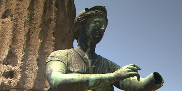 The bronze statue of Diana in Pompeii